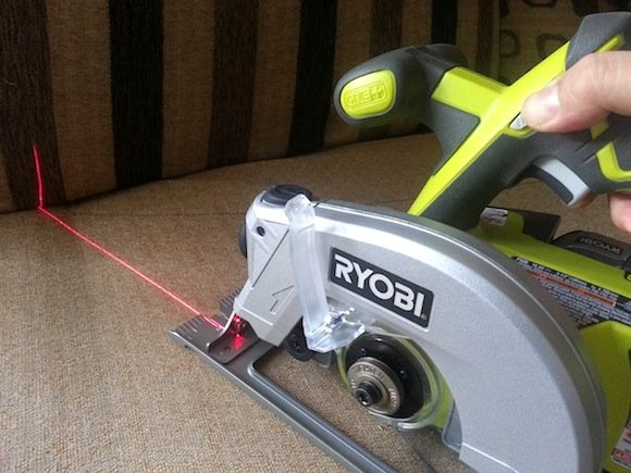 Ryobi P506 Circular Saw Sawing Straight Lines With Laser