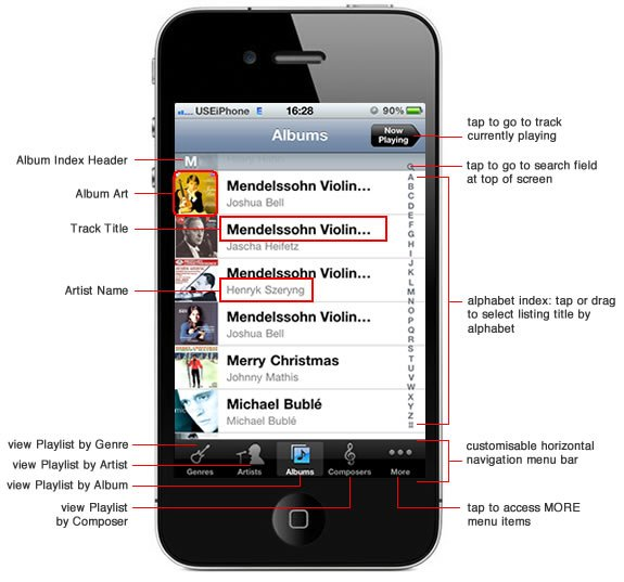 music selection on iphone