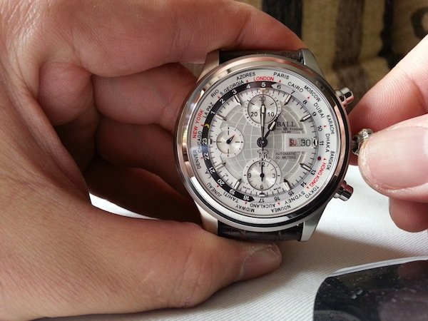 Ball Trainmaster Worldtime Chronograph white face