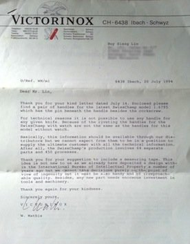 letter from Victorinox Walter Mathis