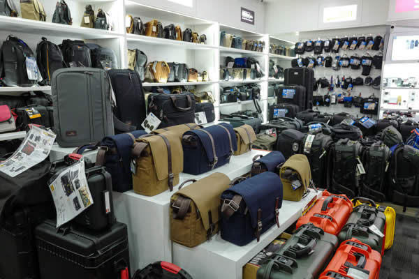 The wide variety of camera bag choices offered by TK Foto at Plaza Singapura, Singapore.
