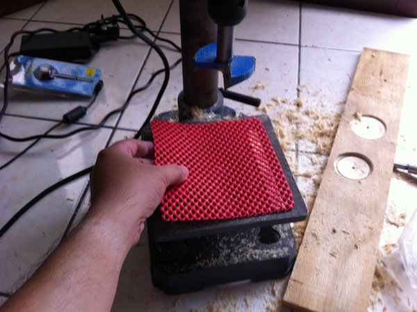 6. I would recommend placing a non-slip pad on the drill press platform to prevent the object or wooden box from slipping during the drill process. Also, the soft material of this pad would help prevent any scratch or damage to the underside of the wooden box.