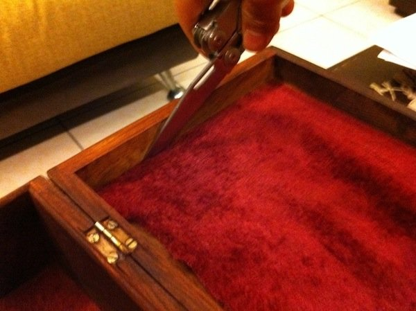 10. Cut the interior edges with a sharp blade and remove the velvet lining on both the inside top and inside bottom of the box. Remove the velvet lining as it does not, in my opinion, make for a good humidor construction due to its scent and moisture-retention properties.