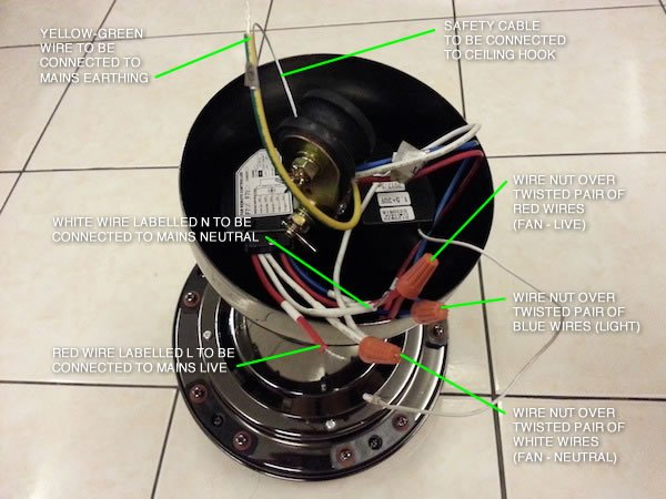 Wiring Diagram For Ceiling Fan With Red Wire : How to install ceiling fan with light devonbuy