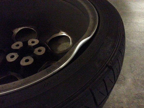 pothole dented rim