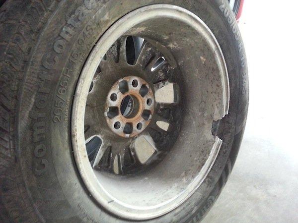 pothole damages car tyre wheels